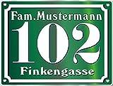 Targa numero civico in acciaio inox, personalizzabile con testo colore acciaio inox verde, con foro