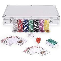 GOPLUS Coffret de Poker avec 300 Jetons, Mallette de Poker en Aluminium - 2 Jeux de Cartes - 5 Dés - Poker Jeu De Casino (Argent)