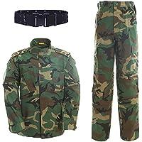 QMFIVE Tactical Woodland Camo Hombres BDU Combat Camiseta de Chaqueta y Pantalones Traje Woodland Camo para Juego de Guerra Ejército Militar Paintball Airsoft Tiro