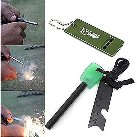 aigumi Magnesio Fire starterstriker + Righello + Kit di sopravvivenza fischietto per Outdoor campeggio Vita sopravvivenza