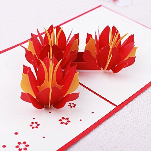 3D Floral Pop-up-Karte und Umschlag-Funny Einzigartige Pop up Grußkarte für Geburtstag, Muttertag, Neues Jahr, Jahrestag, Valentinstag, Hochzeit, Partys, Thank You. 3Orange Rot Blumen (Neue Jahr Partys)