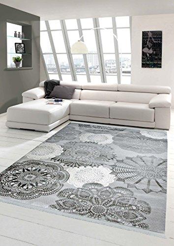 Designer Teppich Moderner Teppich Wollteppich Kreismuster mit Fransen Wohnzimmer Teppich Grau Creme Größe 120x170 cm