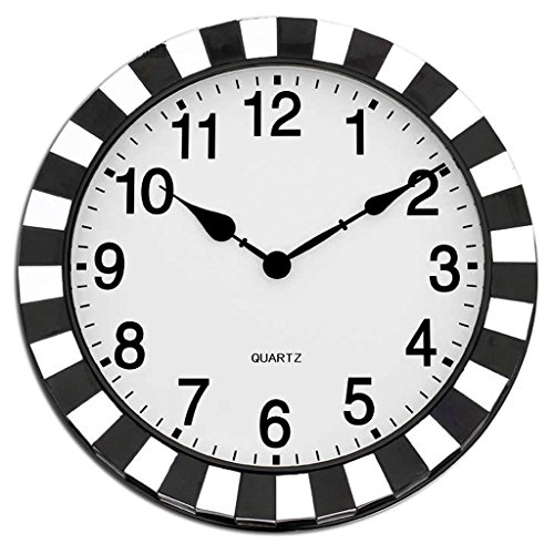PRIDE S Simple And Modern Wall Clock Antique Mosaic Wall Clock Black And White Mirror Glass Metal Clock