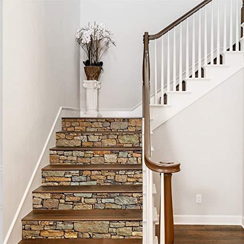 AmazingWall 3D Stein Treppe Aufkleber DIY Wall Wandbild Dekorative Abnehmbare Selbstklebende Decor Art Aufkleber Möbel aufgearbeitet 7,1x 39,4x 6Pcs Stone (Teen Schlafzimmer-möbel-sets)