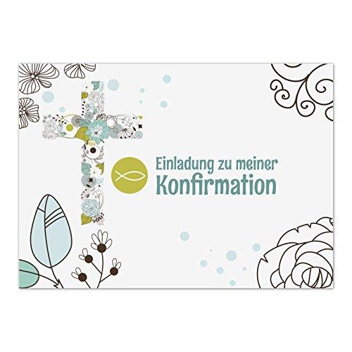 15 x Einladungskarten Konfirmation mit Umschlag / Moderne Karte mit Fisch Türkis / Konfirmationskarten / Einladungen zur Feier