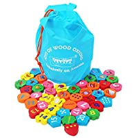 TOWO Wooden Threading Beads Alphabet Blocks-Large Wooden Letters and Number Blocks 46 pieces - threading toy - wooden educational  toys for 3 years old
