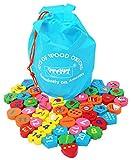 TOWO Beads Juguete educativos Cuentas de Madera para Atar para niños de 46 Piezas - Alfabeto de Madera Bloques de números ensartables infantiles abacos para niños creativo - juguetes montessori educativo