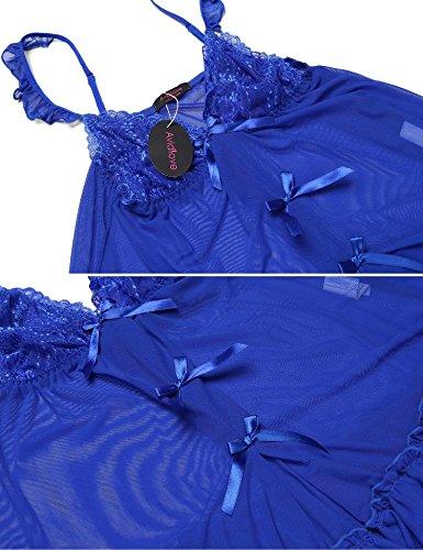 Avidlove Damen Sexy Nachtwäsche Set Reizwäsche Dessous Spitze-Patchwork Nachthemd mit G-String Blau