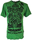 Guru-Shop Sure T-Shirt Tribal Ganesha, Herren, Grün, Baumwolle, Size:M, Bedrucktes Shirt Alternative Bekleidung