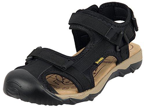 iLoveSIA Mens Velcro Sandal Athletic and Outdoor Shoe Black UK Size 8 (EU 42)