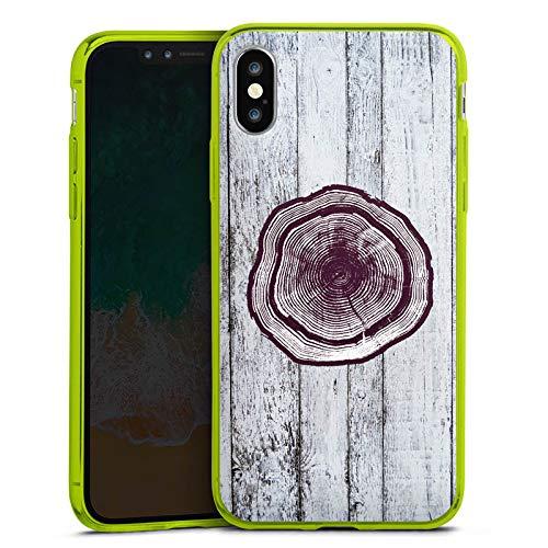 DeinDesign Apple iPhone XS Slim Case transparent neon grün Silikon Hülle Schutzhülle Stamm Holz Look Baumstamm