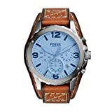 Fossil JR1515 Nate Chronograph Stainless Steel Watch Men's Watch Leather Strap 100 M Analog Chrono Date Brown