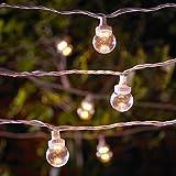 Catena Prolungabile di 20 Lampadine Trasparenti per Esterni Serie PRO con luci LED Bianco Caldo su Cavo Bianco di Lights4fun