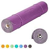 KeenFlex - Tappetino Yoga Pilates Fitness - Premium anti scivolo e confortevole - Extra Lungo 183 cm Splendido design a doppio strato (Viola & Bianco)