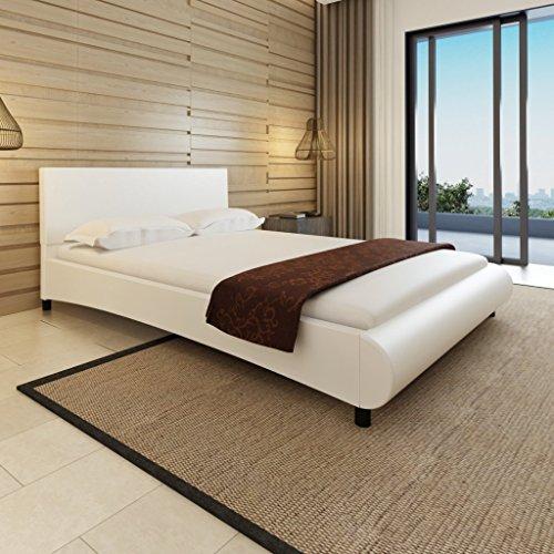 Anself Polsterbett Doppelbett Bett Ehebett aus Kunstleder im Bogen-Design 140x200cm ohne Matratze Weiß