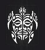 Akachafactory Autocollant Sticker Laptop Voiture Moto Tortue Tribal Deco Vinyle Blanc