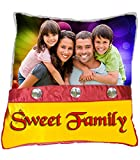 """Personalized 3 Diamond Studded SWEET FAMILY Pillow - 15"""" x 15"""" - PW0031b - Customize with Your Photos & Messages"""