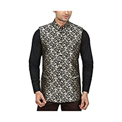 QDesigns Mens Nehru Jacket (WJ_02_Silver & Black_44)