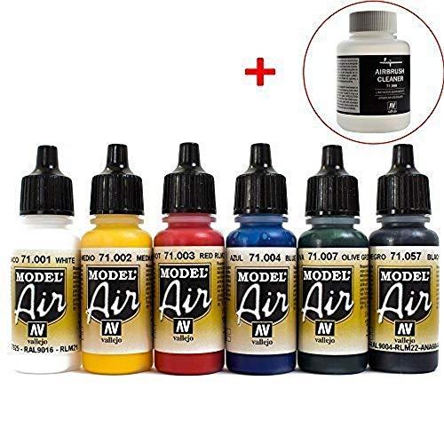 Vallejo, 6 colori per aerografo Model Air, Cleaner 85 ml, in boccette da 17ml