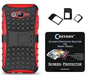 Chevron Tough Hybrid Armor Back Cover Case with Kickstand for Samsung Galaxy J7 with HD Screen Guard & Multi Sim Adapter (Red)