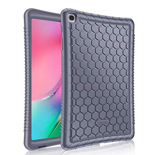 Fintie Funda de Silicona para Samsung Galaxy Tab A 10.1 2019 - [Honey Comb Series] Carcasa Ligera de Silicón Antideslizante para Niños a Prueba de Golpes para Modelo SM-T510/T515, Lavanda Gris