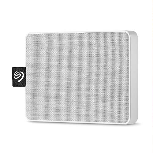 Seagate One Touch SSD 500GB External Solid State Drive Portable - USB-C USB 3.0 for PC Laptop and Mac - White (STJE500402)