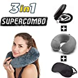 #5: Trajectory 3 in 1 Travel Accessories Combo: Supercomfy Travel Neck Pillow, Ear Phone Carrying Case and Sleep Eye Mask