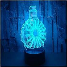 WEIBIN_LIU Lámparas decoradas 3D Luz nocturna Botella 3D Luz Colorida Táctil Remoto 3D LED Visión Regalo
