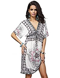 Phenovo Women Girls Ladies Mini Short Sleeves V Neck Summer Dress Clothing Outfit Accessory White M
