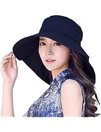 SIGGI verano Bill Flap Cap UPF 50+ sol gorro de algodón con cuello para cable para las mujeres