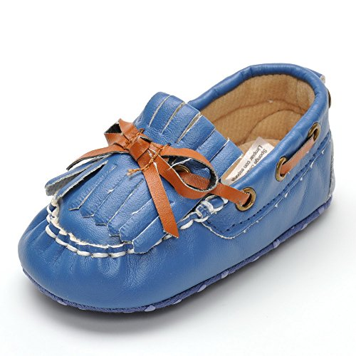 Tamanho Mocassins Azul Laço Meses 18 Camurça Unissex Escuro Infantis De 12 wrT6rXq