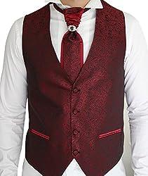 Herren Weste Bordeaux Rot -Set 3 Teilig - Designer Weste Hochzeit Neu W01 (7xl)