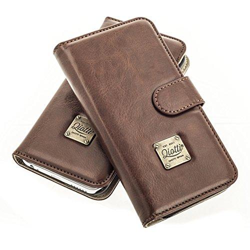 Black Magic Wallet (QIOTTI > SAMSUNG GALAXY A3 (2015) < incl. PANZERGLAS H9 HD+ Booklet Wallet Case Hülle Premium Tasche aus echtem Kalbsleder mit KARTENFÄCHER. CLASSIC KOLLEKTION (BRAUN))