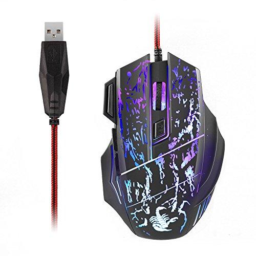 AUKEY Mouse Gaming RGB, Mouse da Gioco USB Ottico con Switch Omron, 8 Pulsanti Programmabili, 4000 DPI, Struttura Acciaio e Extra Peso per Uso Domestico e D'ufficio (Nero)