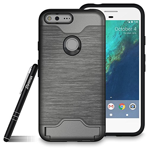 Slynmax Google Pixel XL Case, Google Pixel XL Phone Case, Card Slots Kickstand 2 in 1 Hybrid Dual LayerBrushed Grip Case Hard PC