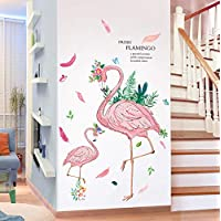 Romantic Cartoon Flamingo Wall Stickers PVC DIY Birds Mural Decals for Kids Rooms Baby Bedroom Nursery Decoration