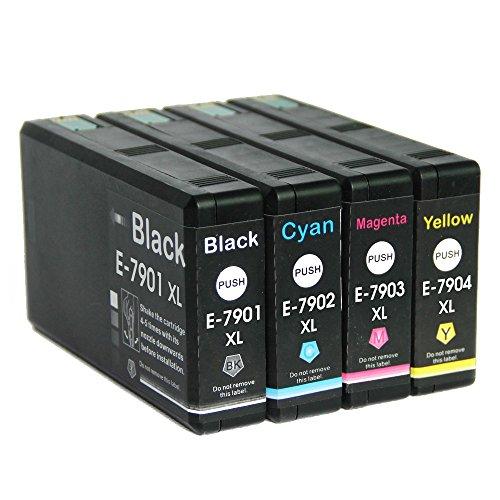 LCL(TM) 79 79XL T7901 T7902 T7903 T7904 (4-Pack,Noir/Cyan/Magenta/Jaune) Cartouche d'encre Compatible pour Epson WorkForce Pro WF-4630DWF/4640DTWF/5110DW/5190DW/5620DWF/5690DWF