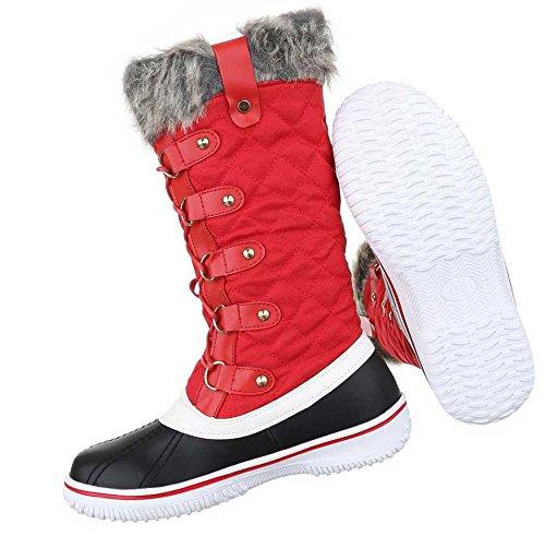 Damen Stiefel Schuhe Warm Gefütterte Schwarz Rot