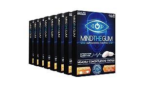 MINDTHEGUM Integratore per Concentrazione, Memoria e Stanchezza Mentale in Gomma con Caffeina, Vitamine, Minerali, Fosforo – 72 chewing gum