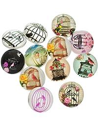 Souarts Mixte Bouton à Pression pour Bracelet Cage à oiseaux Rond Multicolore Lot de 12pcs