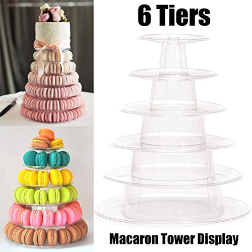 Tray Cake - Multi Function Display Stand 6 Tier Round Macaron Tower Cake Pvc Tray Rack - Round Decor Crystal Display Stand Mould Holder Nail Metal Tier Shelf Dessert Cupcake Wedding Tray - Tier-display Tray