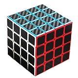 TOYESS Speed Cube Rompecabezas Cubo de Fibra de Carbono 4x4x4 Cubo Magico Liso Cubo de Velocidad Regalo para Adulto Niños,Negro