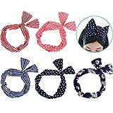 Lictin 5 Stück Haarband Draht Stirnband elastischen Dehnung Haarschmuck Haarhalter Polka Dots für Damen und Mädchen (mehrfarbig)