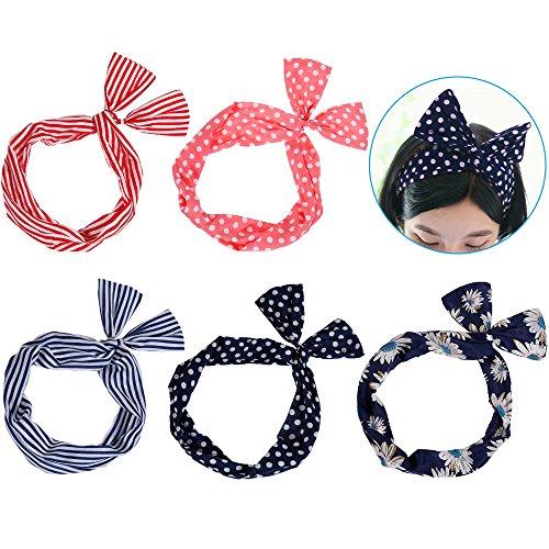 band Draht Stirnband elastischen Dehnung Haarschmuck Haarhalter Polka Dots für Damen und Mädchen (mehrfarbig) ()