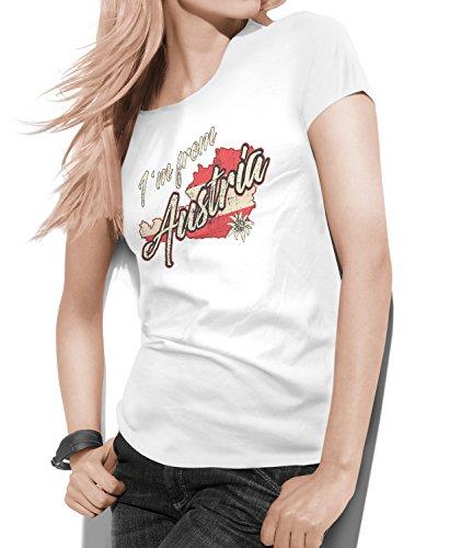 Trendagentur KEPPLINGER Damen T-Shirt - Aufdruck: Landkarte von Österreich mit Schriftzug I´am from Austria (XL-XLarge)