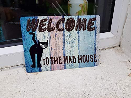 Dozili Lustiges Katzen-Türschild Mad House Welcome Sign Hausschild Türschild oder Wandschild Metallschild 30,5 x 45,7 cm Dc Metallic-heels