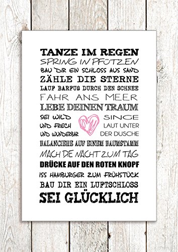 artissimo, Dekopanel, Deco Panel, ca. 29x41cm, PE6062-PA, Tanze im Regen, Bild mit Spruch, Spruchbild, Wandbild mit Spruch, Wanddekoration, Poster mit Spruch, Typographie, Typografie