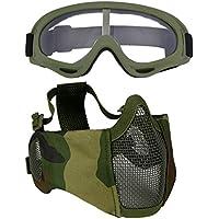 Fansport Máscara de Malla de Acero Media Mascarilla Protección de Oreja Ajustable Máscara Airsoft con Gafas