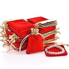 Idea Regalo - DIKETE 50pcs sacchetti di velluto con coulisse regalo sacchetto dei monili per le donne matrimonio bridal shower favore di partito 10x7 cm rosso