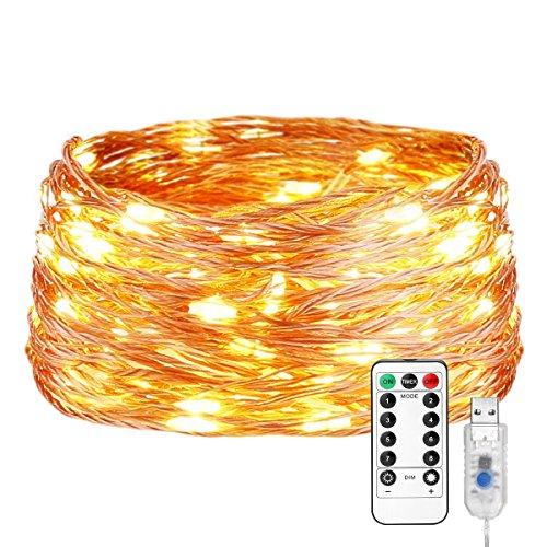 LE Guirnalda de Luces, 20m 200 LED USB Blanco cálido Alambre de cobre impermeable, Decoración de casa, Tira de luces de Navidad